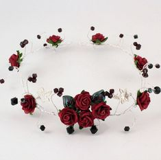 Goth tiara, garnet red and black Swarovski crystals, roses a .- Goth tiara, garnet red and black Swarovski crystals, roses and silver leaves Red rose black crystal wedding hair by KalsReturnJewellery - Wedding Headband, Flower Crown Headband, Red Headband, Hair Wedding, Crystal Headband, Rose Crown, Bridal Hair, Wedding Black, Black Flower Crown