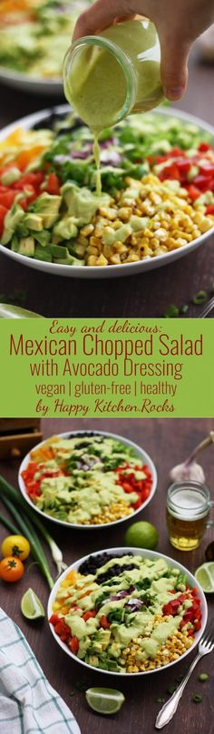 Dairy free - Gluten free - Vegan - Vegetarian - Mexican chopped salad with avocado dressing. Easy and delicious gluten-free recipe of a vegan Mexican chopped salad with avocado dressing. Perfect lunch salad, packed with dietary fiber and protein. Mexican Food Recipes, Whole Food Recipes, Cooking Recipes, Healthy Salads, Healthy Eating, Healthy Recipes, Delicious Salad Recipes, Salad Recipes Vegan, Easy Green Salad Recipes