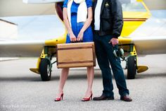 Vintage Airplane Engagement Shoot with Pilot and Stewardess Style