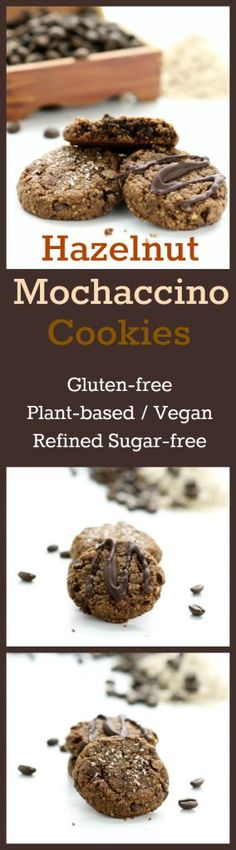 Nutritionicity Recipe: Hazelnut Mochaccino Cookies (Gluten-free, Vegan / Plant-based, Refined Sugar-free) These rich, supple treats blend hazelnut and chocolate, infuse espresso, and are topped with smoked salt or chocolate drizzle.