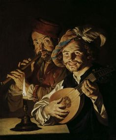 The Lutenist and Flautist, 1640 by Matthias Stom. Tenebrism. genre painting
