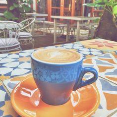 Cappuccino coffee tile table