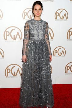 Producers Guild of America Awards, LA   Felicity Jones wore a Valentino gown from the autumn/winter 2015 collection.