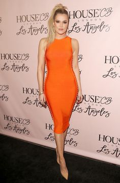 Khloé Kardashian Looks Better Than Ever in a Sexy Tangerine Dress from InStyle.com