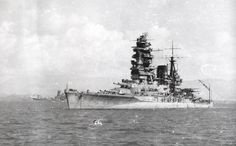 Imperial Japanese Navy Battleship Musashi (sister ship to the Yamato). The Musashi was sunk on October 24, 1944, by American Carrier aircraft during the Battle of Leyte Gulf.