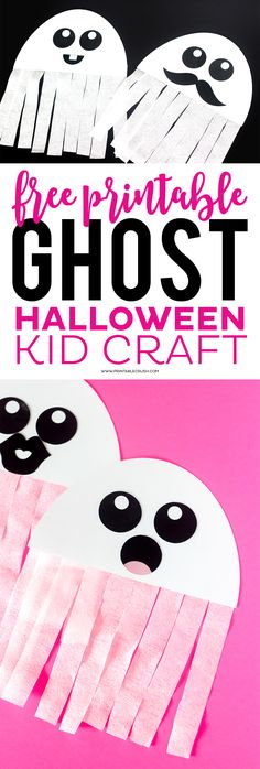 This FREE Printable Ghost Halloween Craft would be a great activity for your Hal. This FREE Printable Ghost Halloween Craft would be a great activity for your Halloween Party! Kids love creating their own ghosts! Diy Halloween, Halloween Party Kinder, Halloween Arts And Crafts, Theme Halloween, Adornos Halloween, Manualidades Halloween, Halloween Ghosts, Holidays Halloween, Holiday Crafts