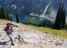 A hiker walks toward Maple Pass above Lake Ann in the North Cascades. (John Nelson / Special to The Seattle Times) Seattle Times, North Cascades, Great Falls, Washington State, Walks, Trail, Most Beautiful, Ann, Hiking