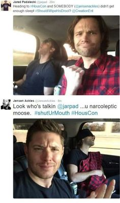 Jensen sleeps in car Jared posts about it then Jared sleeps and Jensen says you narcoleptic moose ❤