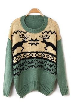 Loose Reindeer Graphic Sweater by Oasap