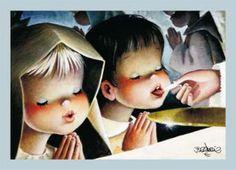 ESTAMPA COMUNION FERRANDIZ Vintage Christmas Cards, Vintage Cards, Vintage Postcards, Decoupage, Catholic Kids, Spanish Painters, Artists For Kids, First Communion, Conte