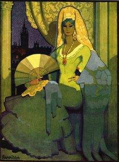Spanish Woman With Fan 1920s Spain Cc Fine Art Print