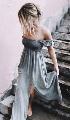 Barefoot, beautiful, and proud of it. Love the side slit.  Off the shoulder elegance in palegrey