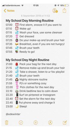 School Routine For Teens, Morning Routine School, Life Hacks For School, School Study Tips, School Routines, Morning Routine Chart, School Tips, Beauty Routine Checklist, Routine Planner