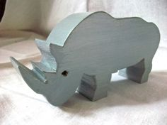 Gray Rhinoceros Wooden Toy by HBhandmades on Etsy, $12.00