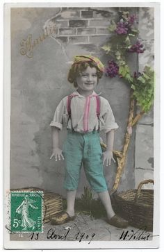 Cute Young Boy with Suspenders and Clogs, Antique Children Real Photo Postcard, Smiling Boy, Curly Hair, Vintage Tinted French Postcard RPPC by maralecollectibles on Etsy Vintage Photographs, Vintage Photos, Vintage Scrapbook, Very Lovely, Photo Postcards, Young Boys, Vintage Colors, Belle Epoque, Suspenders