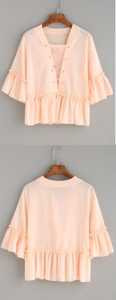 Cute Pink Lace Up Ruffle Blouse. $9.99 with 40% off 1st order.