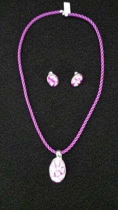 Silver pendant and earing.  Ovalo Mosaic.  Raquel Martinez Chavez