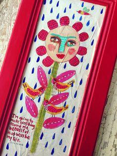 Original Folk Art Painting Whimsical Flower on Etsy, $78.00