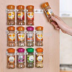 Spice Rack Spice Wand Lagerung Kunststoff Kitchen Organizer Rack 12 Schranktür Haken 3 TEILE/SATZ Küche Zubehör S002