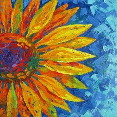 Sunflower original oil painting on canvas - floral painting expressionism textured palette knife flower painting painting by tatyana soloveva Oil Painting Flowers, Oil Painting On Canvas, Canvas Wall Art, Flower Paintings On Canvas, Flower Painting Abstract, Knife Painting, Blue Painting, Watercolor Flowers, Bear Paintings