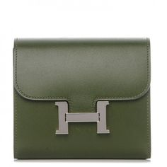 c48b0a3f3a8e This is an authentic HERMES Tadelakt Constance Short Wallet in Canopee.  This compact essential wallet