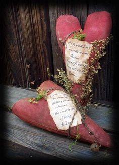 Valentine Cupboard Heart Ornies by Kentucky Primitives - Victoria Lynn