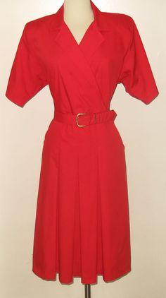 c.1980s SABINO PETITES Classic POWER RED Short Sleeve A-Line Dress - Sz. 16P #SabinoPetites