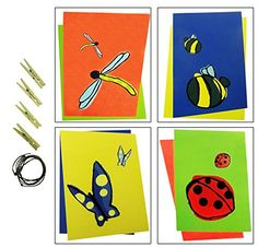 """4 Pack 8\"""" x 10\"""" Prints Simple Flying Lady Bug Dragonfly Butterfly Children Wall Decor Artwork Best Inexpensive Top Popular Stocking Stuffer Birthday Present Idea Girl Teen Kid Toddler Baby Room Home ** Want to know more, click on the image."""