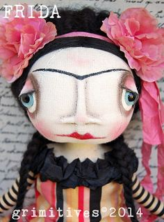 Grimitives©2014 OOAK Primitive Original Frida Kahlo Art Doll by GRIMITIVES on Etsy.