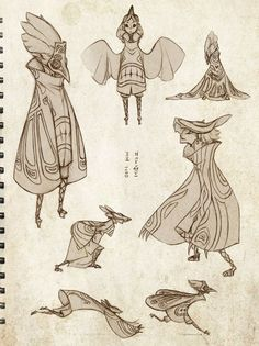 Bird and Beast by sambees on deviantART  I like the masks and the robes of these characters: