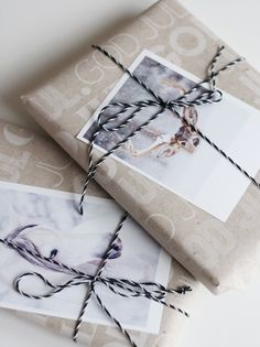 Mix a printed bag with a photo and butcher's twine.