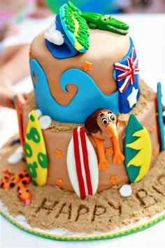 Surfing theme birthday cake