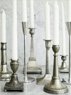 Mixed Pewter Candlesticks