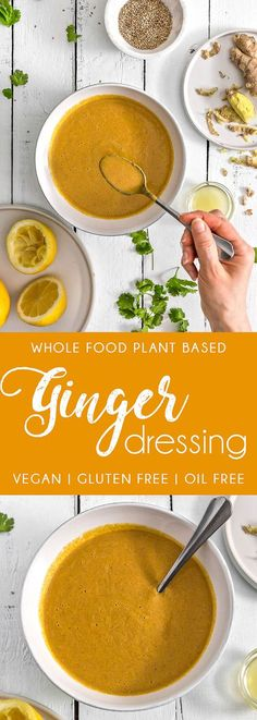 EASY and FAST Ginger Dressing! Bursting with flavor and tastes fresh, light and creamy. A perfect complement to many dishes. #vegan #glutenfree #oilfree #gingerdressing #ginger #dressing #plantbased #refinedsugarfree #healthy #healthyvegan #monkeyandmekitchenadventures #recipe