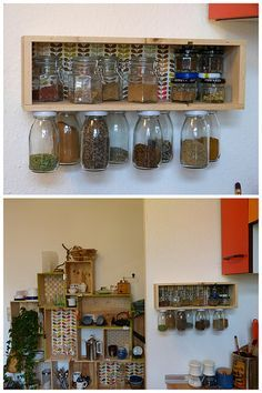 Gewürzregal aus Weinkiste und Altglas / Spice rack made for wine crate and old bottles / Upcycling