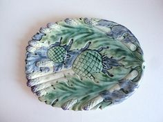French Asparagus Artichokes Platter Barbotine by LaBelleEpoqueDeco