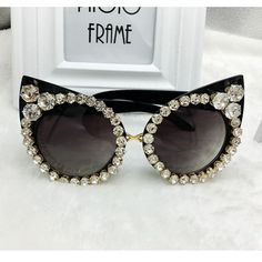 Cat Eye Rhinestone Black Sunglasses