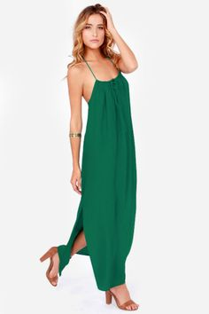 Lucy Love Sunset Emerald Green Lace Maxi Dress.  This looks so cool and comfortable!
