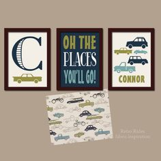 Retro Rides Boy Wall Art CANVAS or Prints Nursery Child Cars Trucks Transportation Custom Let Him Sleep Monogram Name Set of 3 by TRMdesign on Etsy https://www.etsy.com/listing/176432879/retro-rides-boy-wall-art-canvas-or
