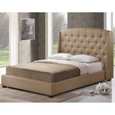 @Overstock.com - Ipswich Beige Linen Modern King Platform Bed - Bring contemporary style to your bedroom decor with this king-sized modern platform bed. Featuring an oversized upholstered cushion headboard, this bed is a lovely beige color that will coordinate with your room no matter your choice of decor.  http://www.overstock.com/Home-Garden/Ipswich-Beige-Linen-Modern-King-Platform-Bed/7225745/product.html?CID=214117 $691.99