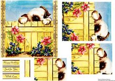 Over the fence puppy on Craftsuprint designed by Barbara Alderson - pyramid topper on a square card front with a choice of sentiments - Now available for download!