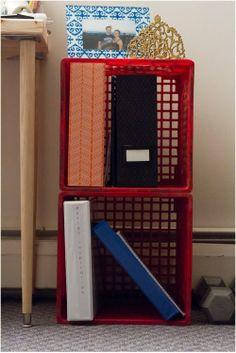 DIY milk crate bookshelf
