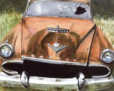 50 DeSoto - watercolor by Anthony Billings Rusty Cars, Gas Pumps, Old Cars, Classic Cars, Trucks, Barn Finds, Rat, Watercolors, Vehicles