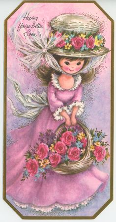 Vintage Gorgeous Girl Pink Lavendar Dress Bonnet Roses Greeting Card Art Print   eBay