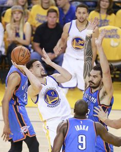 Golden State Warriors' Klay Thompson tries to shoot over Oklahoma City Thunders' Steven Adams in the first quarter during Game 7 of the NBA Western Conference Finals at Oracle Arena on Monday, May 30, 2016 in Oakland, Calif. Photo: Michael Macor, The Chronicle
