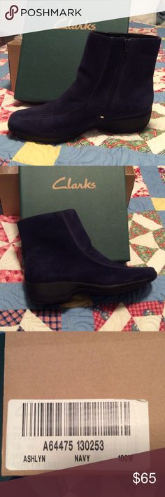 Clark's Ashlyn Navy Suede Boots Beautiful Navy Blue Zip Ankle Boots NIB Size 10 Wide Clarks Shoes Ankle Boots & Booties