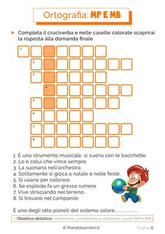 Sei pagine di schede didattiche su MP e MB pronte da stampare: esercizi con parole, frasi e giochi che contengono MP e MB per bambini della scuola primaria