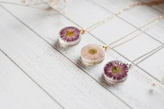 Pink or purple daisy resin necklace real by FloralJoyJewelry