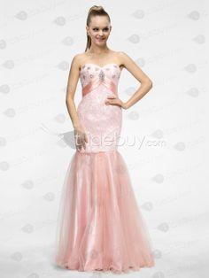 Glamorous Mermaid/Trumpet Sweetheart Zipper-up Beading Floor-Length Evening Dress