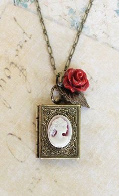 Cameo Necklace Book Locket Pendant Deep Red